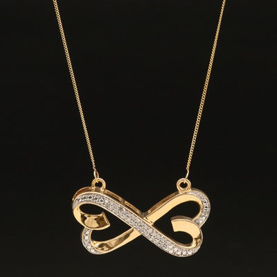 Sterling Diamond Crossover Double Hearts Necklace
