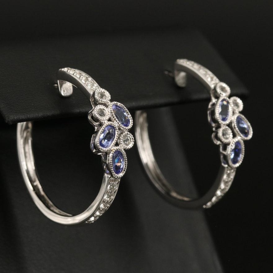 Sterling Tanzanite and Topaz Hoop Earrings with Milgrain Detail