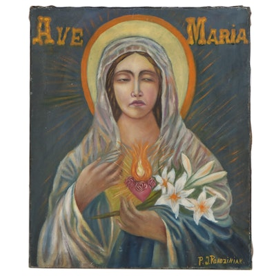 Oil Painting of The Virgin Mary, Mid-20th Century