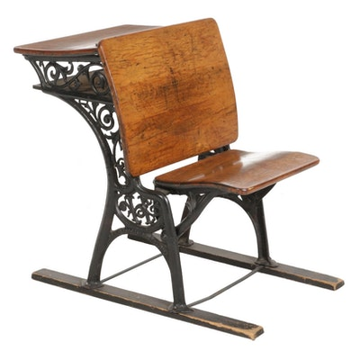 Haney Cast Iron and Wood Student's Desk, Late 19th Century