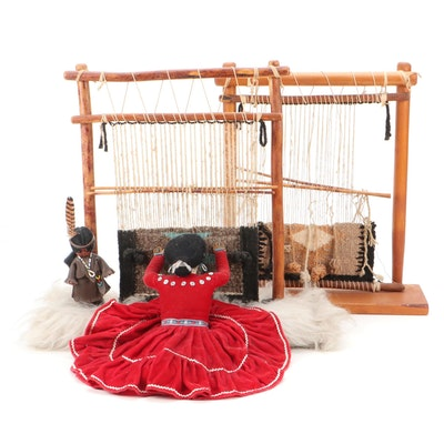 American Southwest Navajo Style Weaver Doll and Miniature Rug Looms