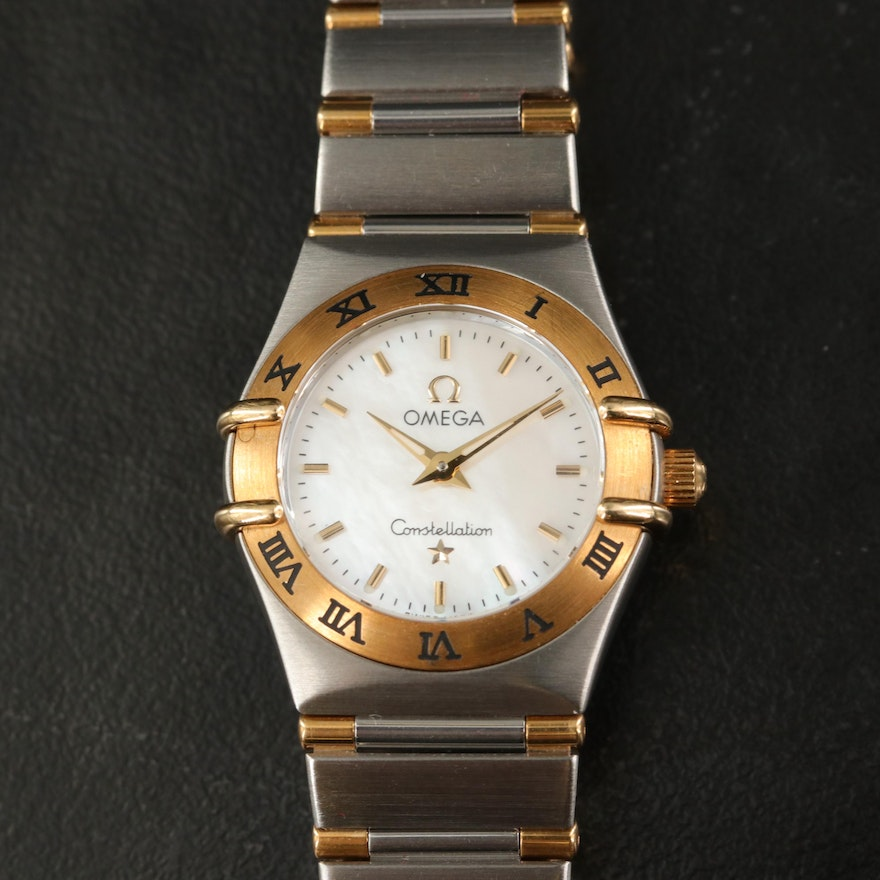 Omega Constellation 18K and Stainless Steel Mother of Pearl Dial Wristwatch