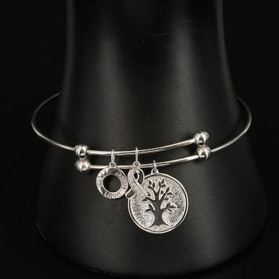 Sterling Diamond Live, Love, and Hope Slide Charm Bracelet