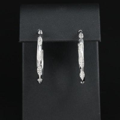 Sterling Diamond Open Hoop Earrings