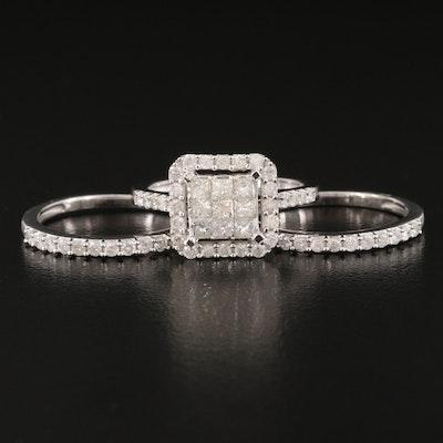 Sterling 1.45 CTW Diamond Ring Set