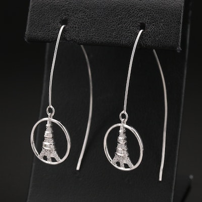 Sterling Diamond and Cubic Zirconia Eiffel Tower Threader Earrings