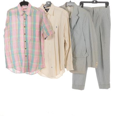 Men's Brooks Brothers Seersucker Suit with Ralph Lauren and Paul Stuart Shirts