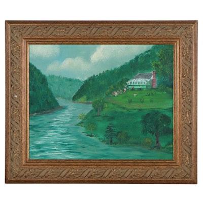 Folk Art Style Landscape Oil Painting, Late 20th Century