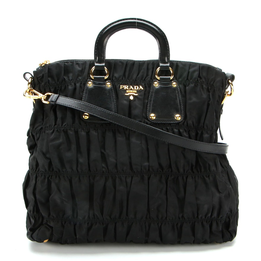 Prada Tote Bag in Black Gaufre Nylon Tessuto and Leather with Detachable Strap