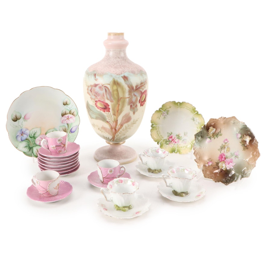 German Royal Bonn Style Vase and Other Porcelain Demitasse Cups and Plates