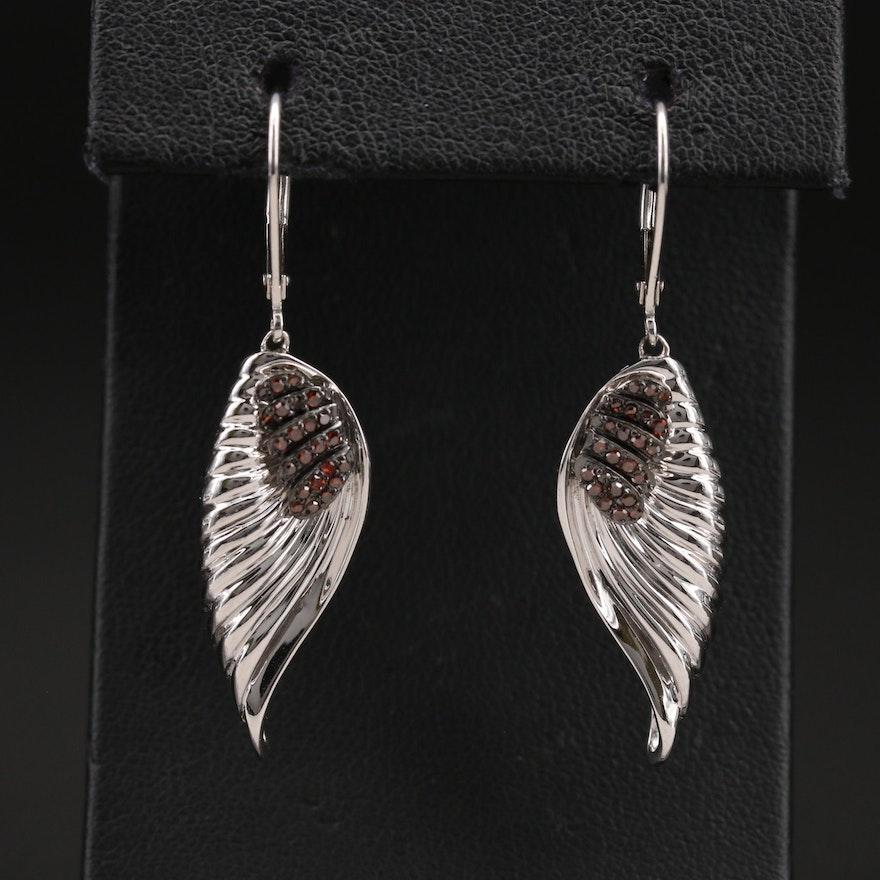Sterling Diamond Wing Earrings