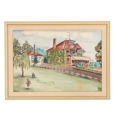 House Portrait Watercolor Painting, Mid-20th Century