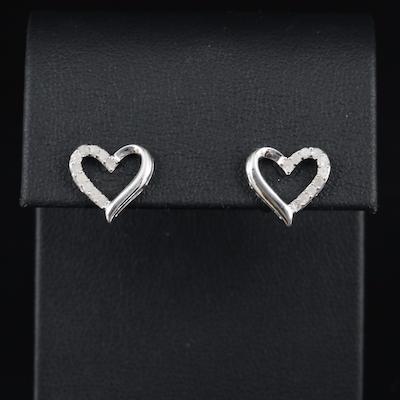 Sterling Diamond Heart Earrings