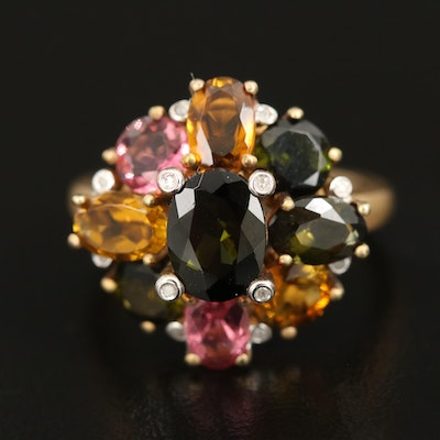 Sterling Tourmaline and Diamond Cluster Ring with Bezel Set Prongs