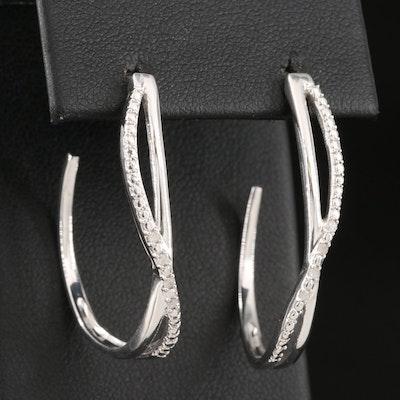 Sterling Silver and Diamond Braided J-Hoop Earrings