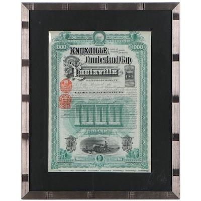 Cumberland Gap and Louisville Railroad Company Stock Certficate