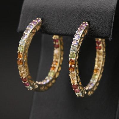 Sterling Inside-Out Hoop Earrings Including Tanzanite, Amethyst and Peridot