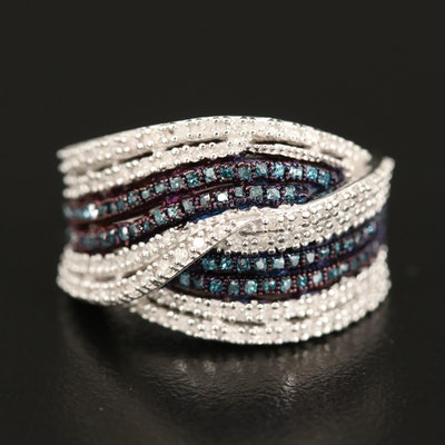 Sterling Diamond Multi-Row Crossover Ring