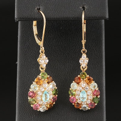 Sterling Drop Earrings Including Apatite, Tourmaline and Zircon