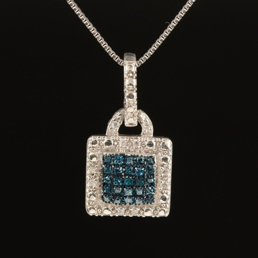 Sterling Diamond and Cubic Zirconia Pendant Necklace