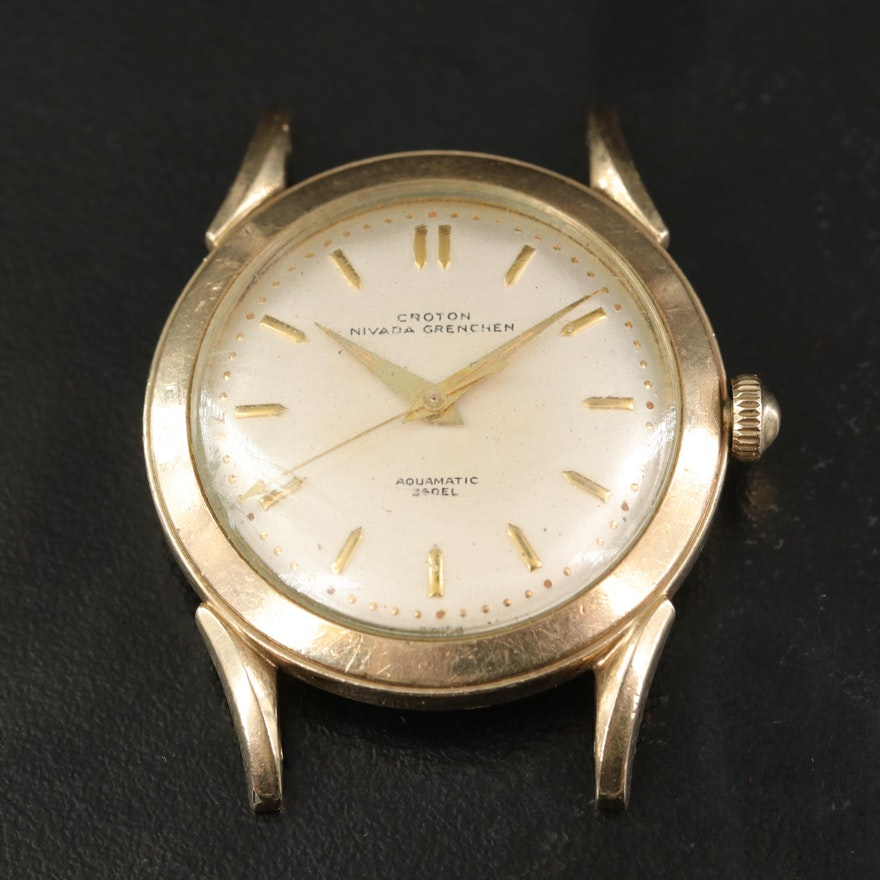 1950s Croton Nivada Grenchen Aquamatic 360EL 10K Gold Filled Wristwatch