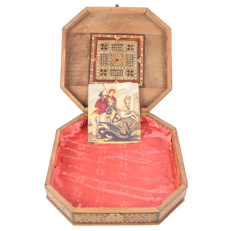 Marquetry and Mother-of-Pearl Inlay Octagonal Wood Box