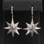 Sterling Diamond Starburst Earrings