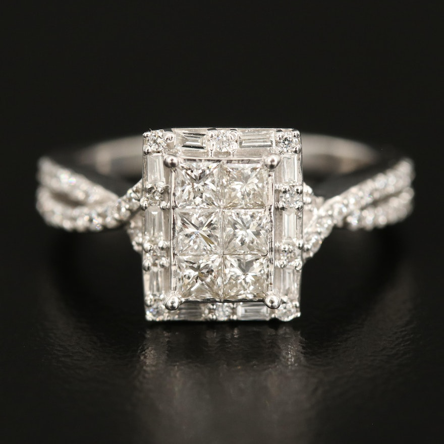 Sterling Diamond Ring with Crossover Cubic Zirconia Shoulders