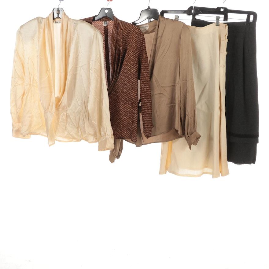 Anne Klein Silk Blouses, Calvin Klein Wrap Silk Blouse and Linen Skirt