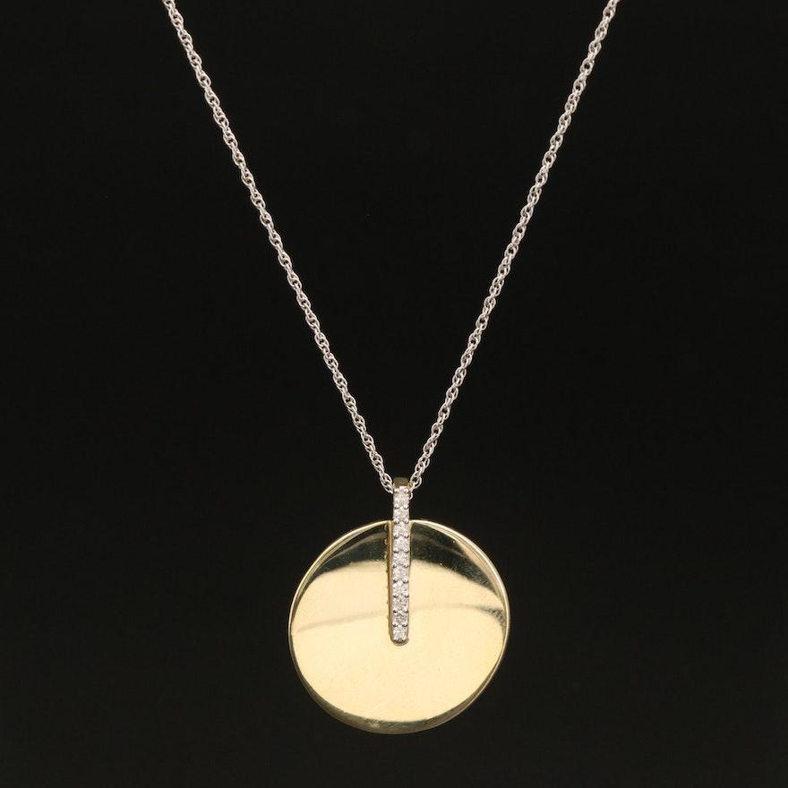 Sterling Diamond Disc Pendant Necklace