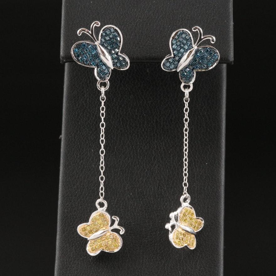 Sterling Silver and Diamond Butterfly Drop Earrings