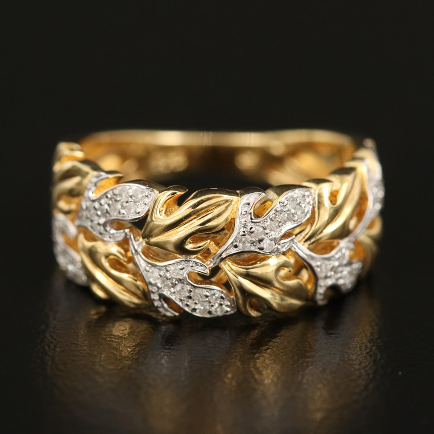 Sterling Diamond Foliate Cigar Band with Openwork
