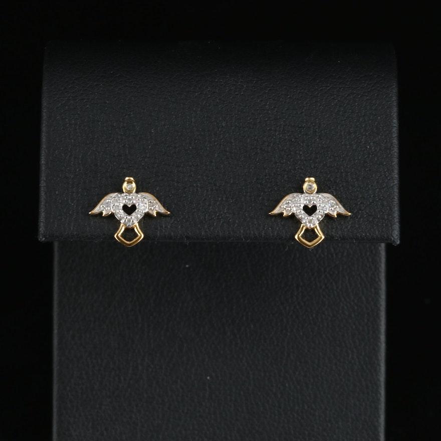 Sterling Angel Stud Earrings with Diamond
