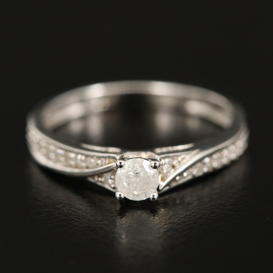 Sterling Diamond Ring with Bypass Channeling