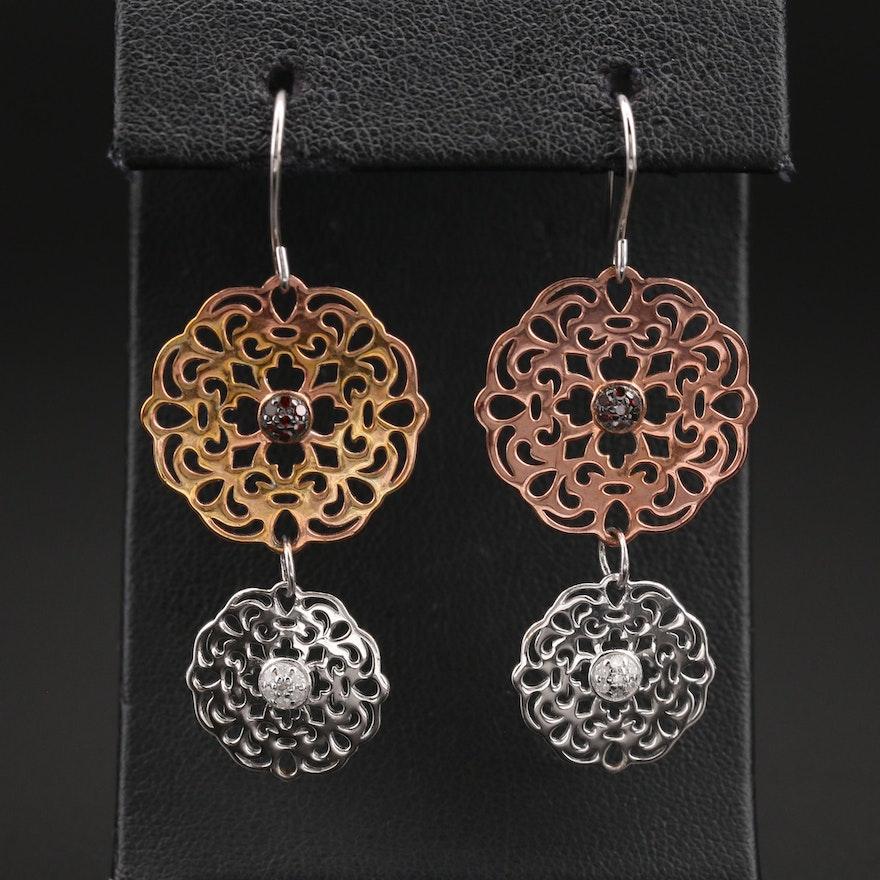 Sterling Diamond Openwork Medallion Earrings