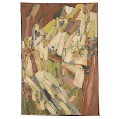 """Don Stacy Large-Scale Abstract Oil Painting """"Tertiarian,"""" Mid-20th Century"""
