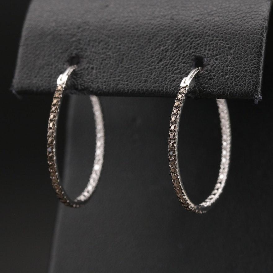 Sterling Diamond Oval Inside-Out Hoop Earrings