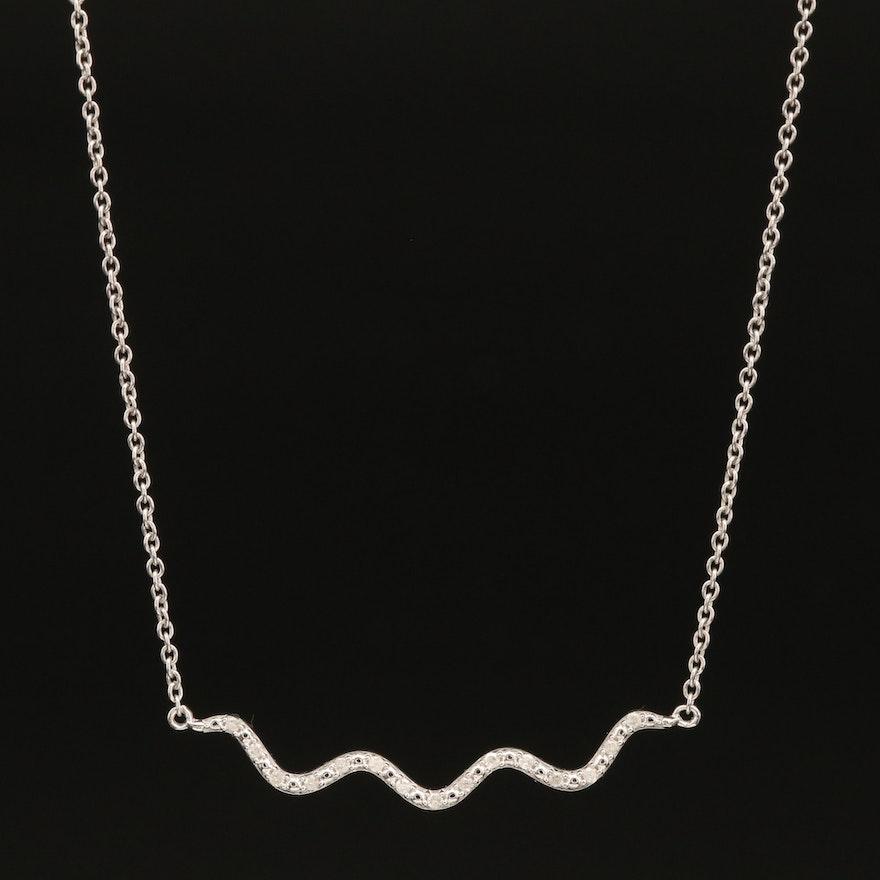 Sterling Diamond Wave Necklace