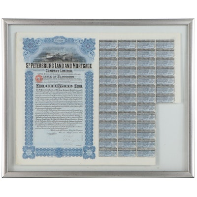 St. Petersburg Land and Mortgage Company Certificate with Coupons, 1912
