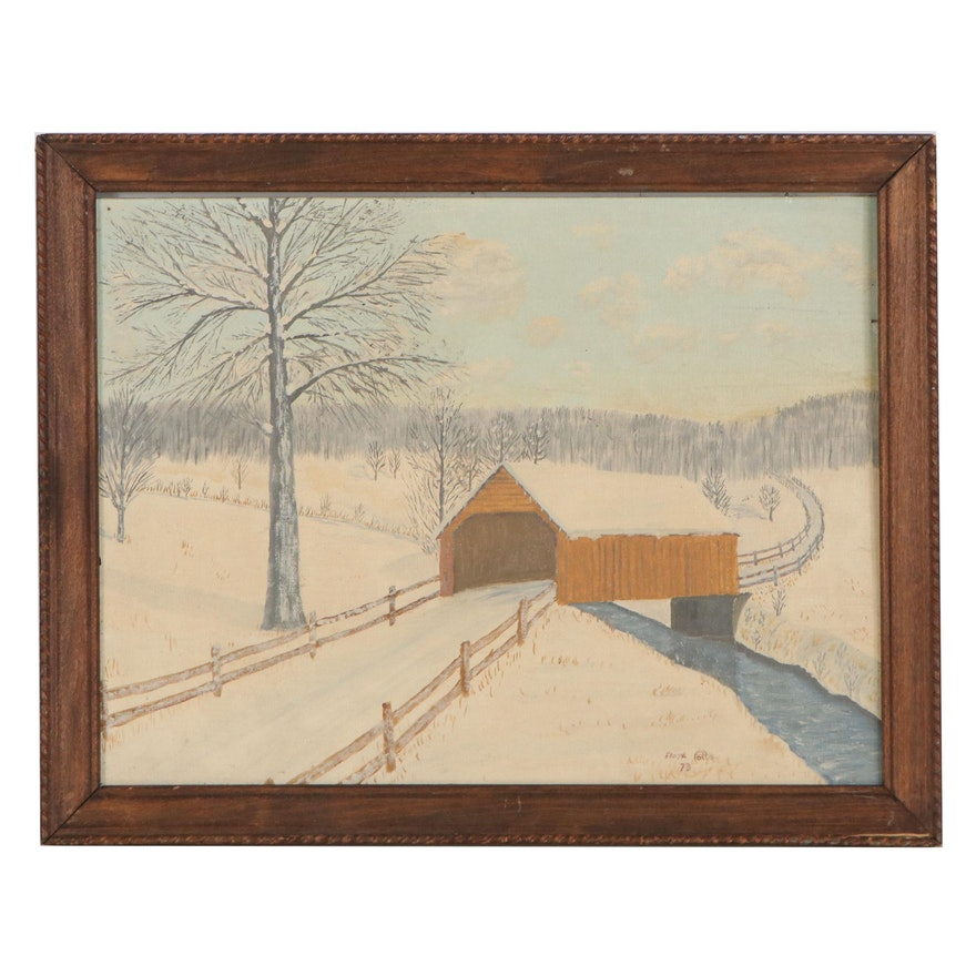 Folk Art Style Winter Landscape Oil Painting, 1973