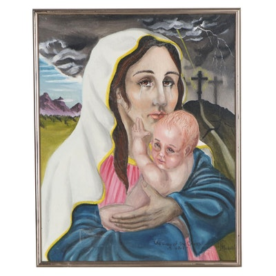"""Oil Painting of Madonna and Child """"The Way of The Cross is Love"""""""