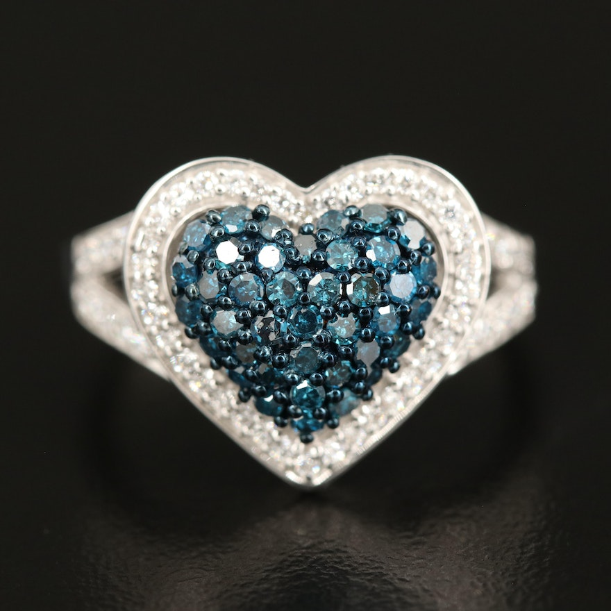 Sterling Pavé Diamond and Cubic Zirconia Heart Ring
