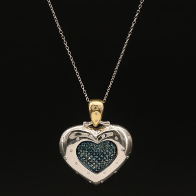 Sterling Pavé Diamond Heart Pendant Necklace with Cubic Zirconia