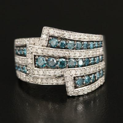 Sterling 1.25 CTW Diamond Multi-Row Ring