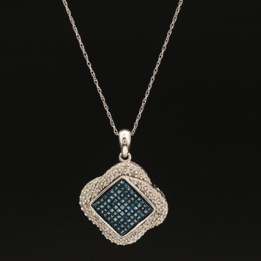 Sterling Pavé Diamond Quatrefoil Pendant Necklace