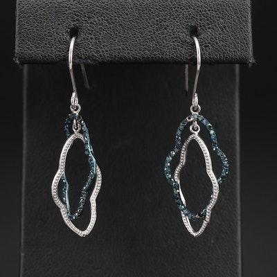 Sterling Diamond Quatrefoil Drop Earrings