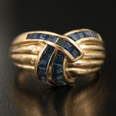 14K Sapphire Channel Fluted Band