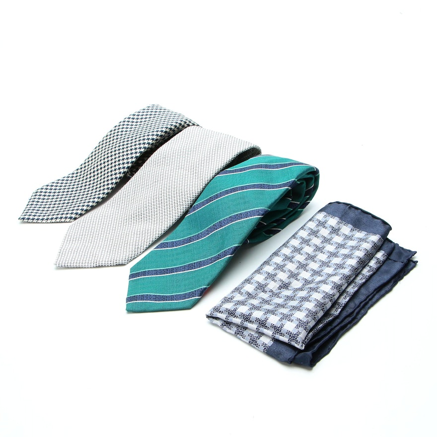 Men's Tom Ford and Isaia Ties and Tom Ford Pocket Square in Silk Twill