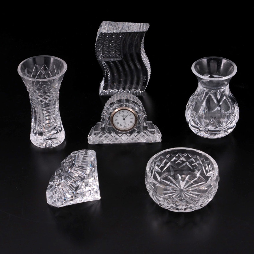 Waterford Crystal Paperweights, Bud Vases, Desk Clock, and Bowl