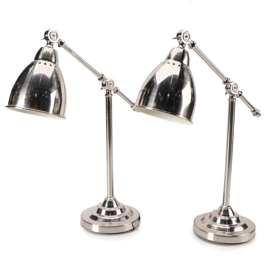 "Ikea ""Barometer"" Modernist Chrome Finish Desk Lamps"